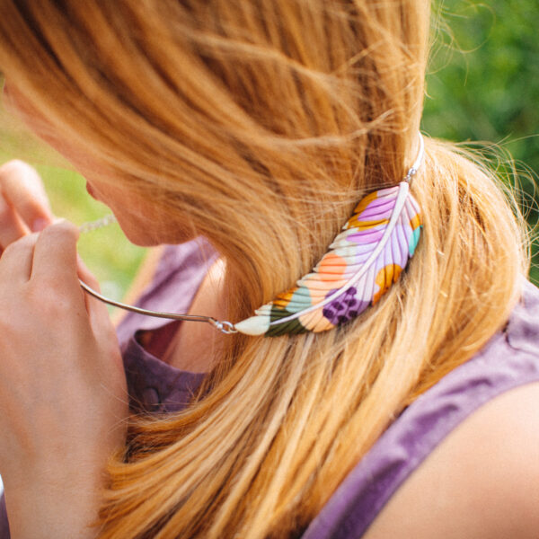 feather leaf colorful necklace handmade jewelry nature lover marinush polymer clay photography by irma puskarevic